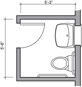 Water closet and inward swinging door a square for Half bath floor plans